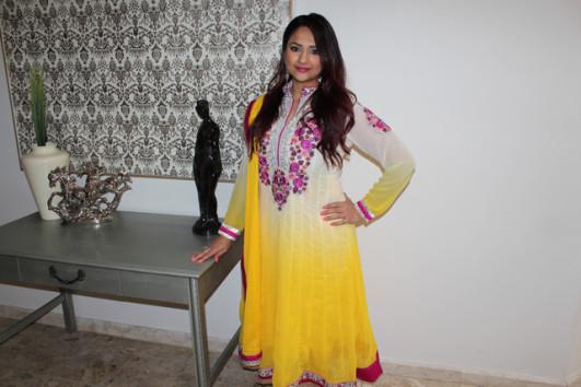 Deepa Berar yellow anarkali