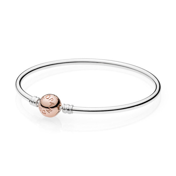 Moments Silver Bangle PANDORA Rose Clasp